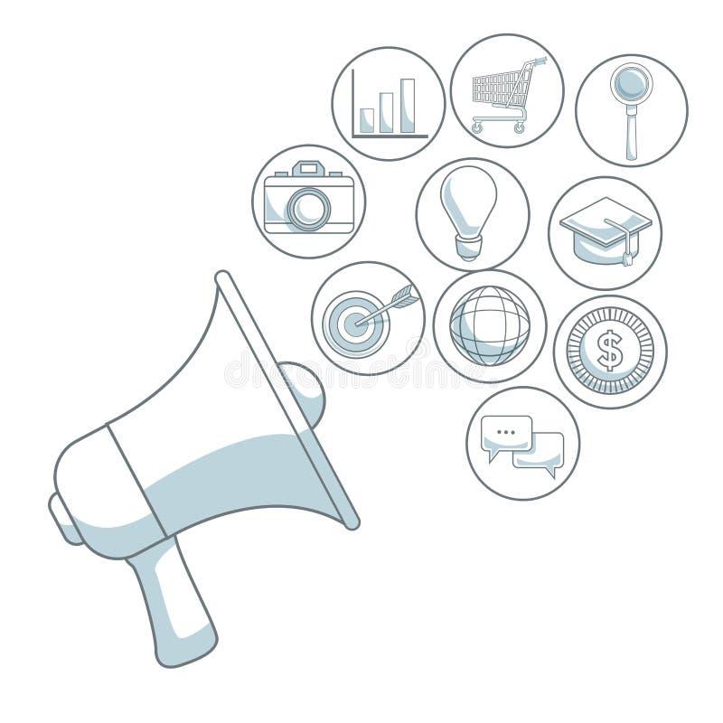 Fundo branco com seções da cor do megafone do close up do mercado digital dos ícones da difusão ilustração stock