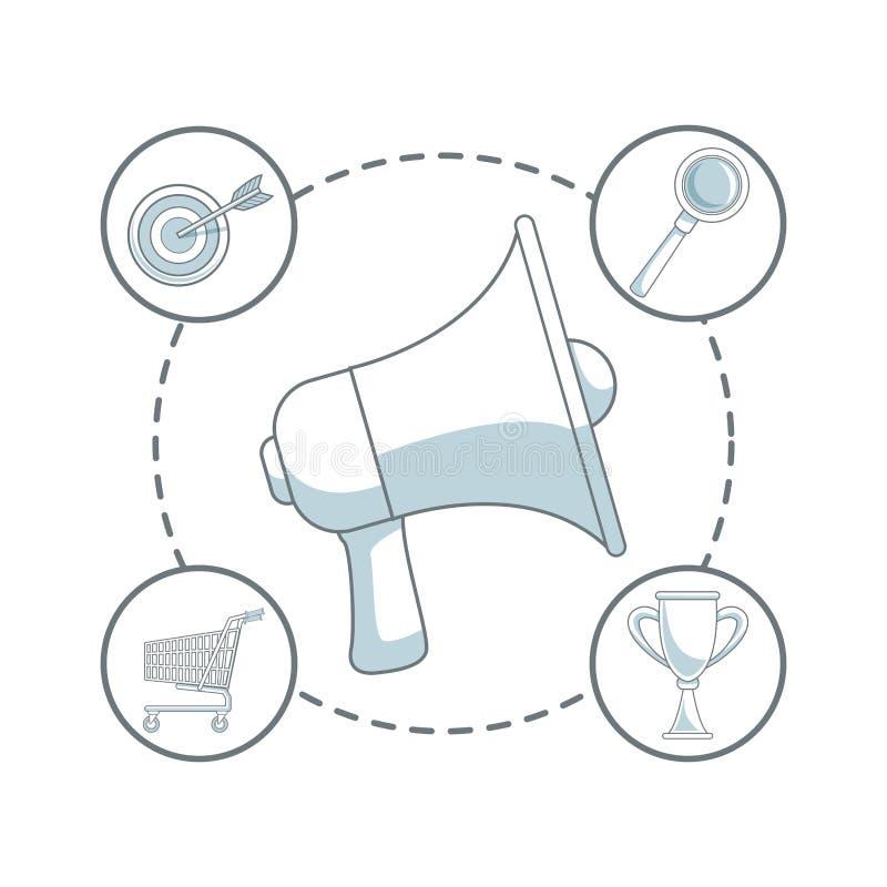 Fundo branco com seções da cor do megafone do close up no centro com mercado digital dos ícones ao redor ilustração royalty free