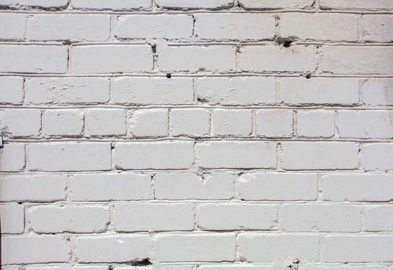 Fundo branco da parede de tijolo na sala rural, fotografia de stock royalty free