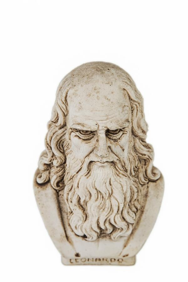 Fundo branco da parte superior de Leonardo da Vinci fotografia de stock royalty free