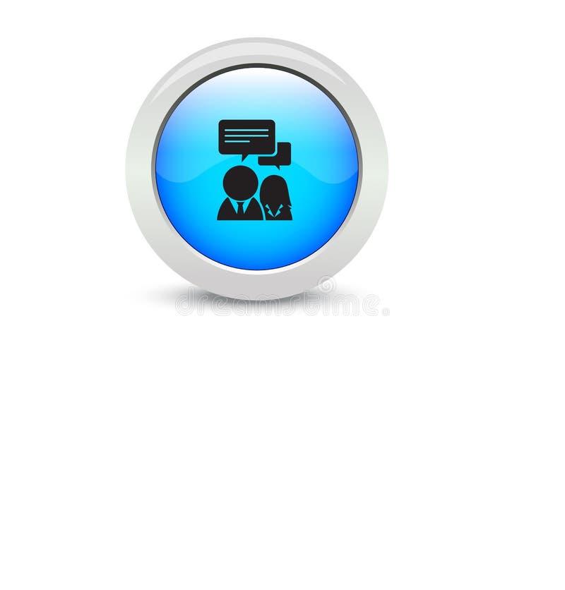 Fundo branco de conversa líquido preto do botão azul clássico do botão da Web ilustração royalty free