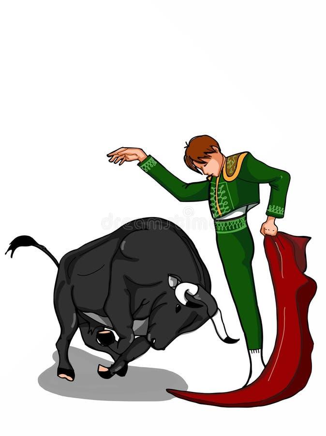 Fundo branco de tiragem da ilustração do matador do toureiro e dos desenhos animados do touro ilustração stock