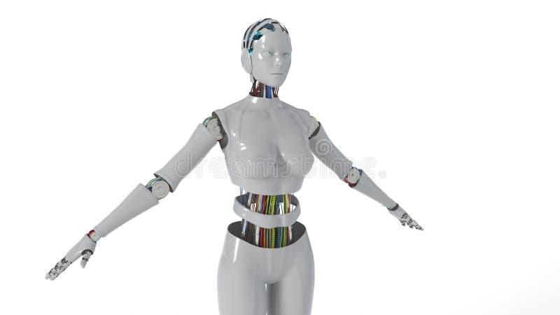 Fundo branco de trabalho da mulher do robô, rendição 3d ilustração do vetor