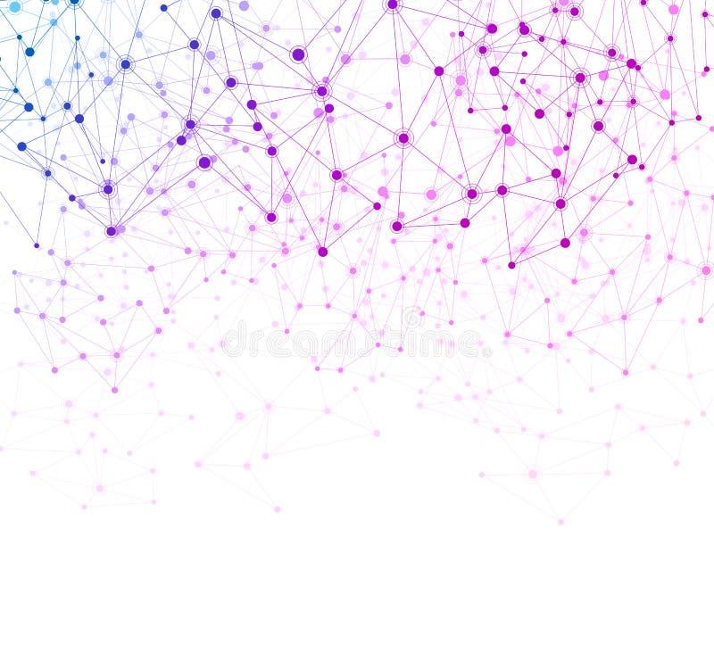 Fundo branco de uma comunicação global com rede colorida ilustração do vetor