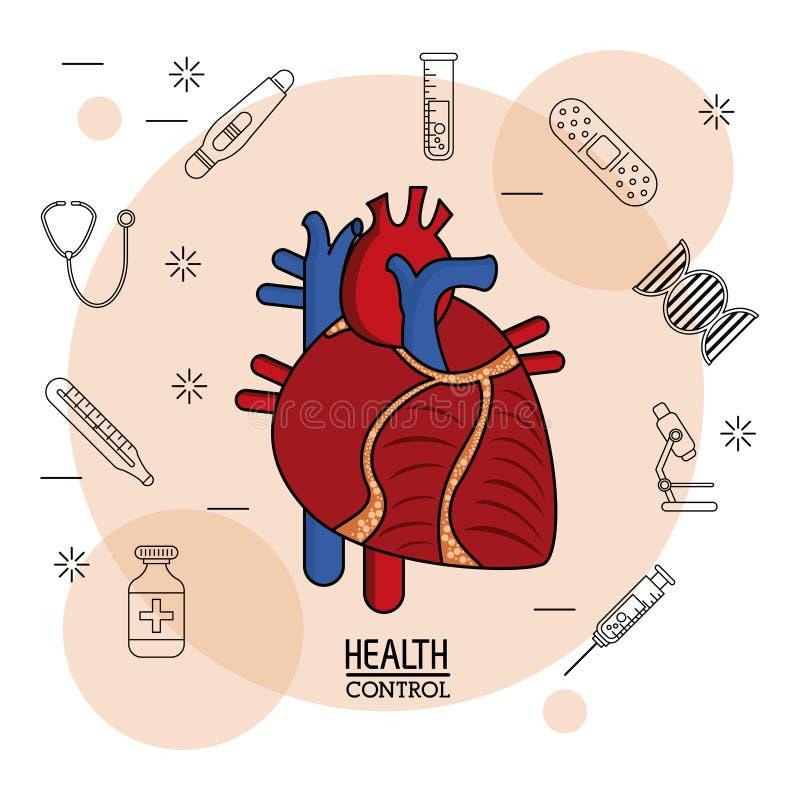 Fundo branco do cartaz com ícones pretos da silhueta do controle de saúde no fundo e no sistema cardiovascular colorido ilustração do vetor