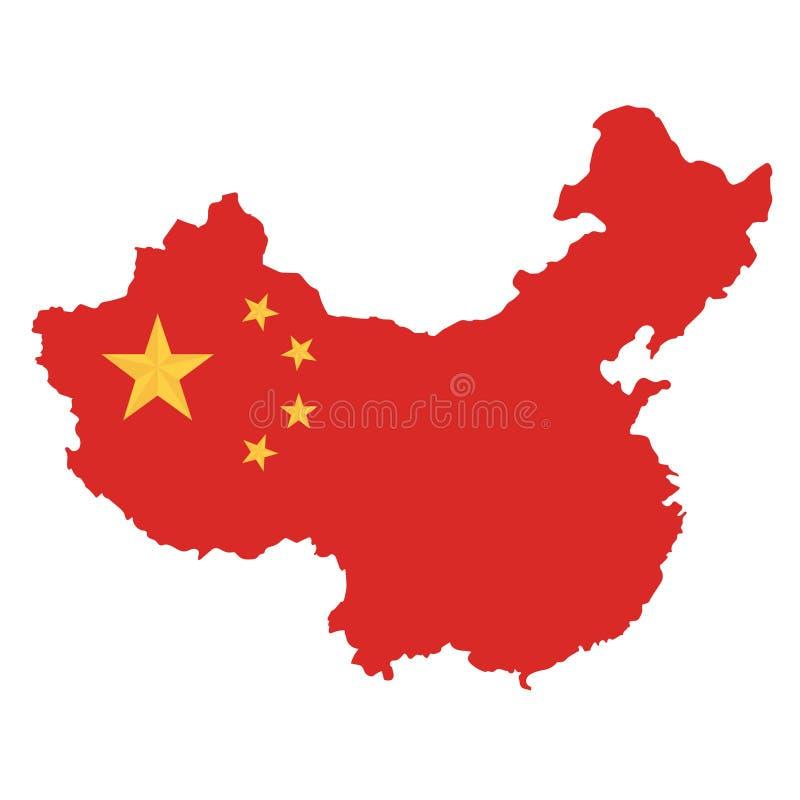 Fundo branco do mapa de República Popular da China ilustração do vetor