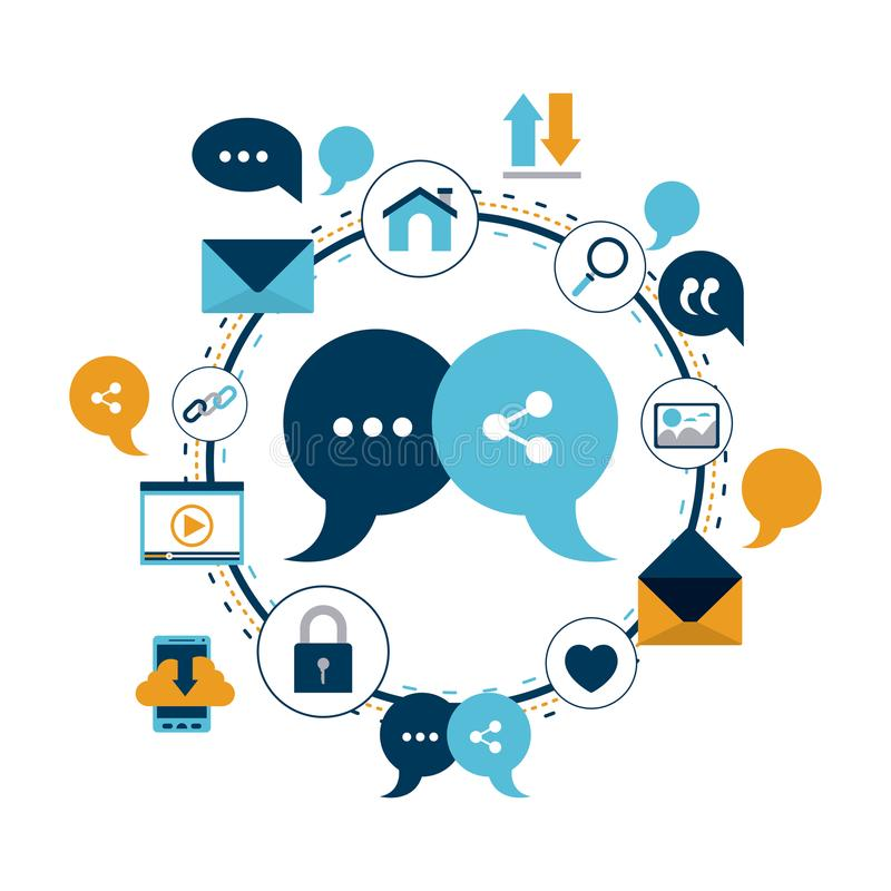 Fundo branco do quadro circular colorido de ícones do Internet da tecnologia e de caixa de diálogo da bolha do close up e de part ilustração do vetor