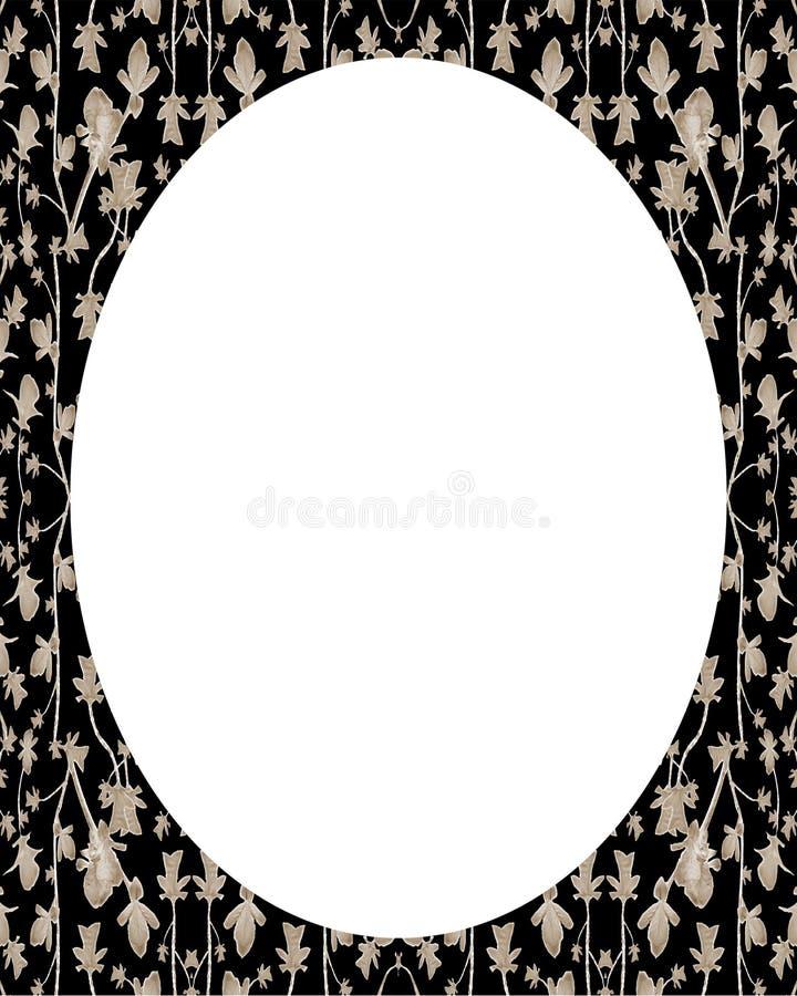Fundo branco do quadro do círculo com beiras decoradas ilustração stock