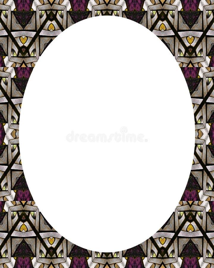 Fundo branco do quadro do círculo com beiras decoradas ilustração royalty free