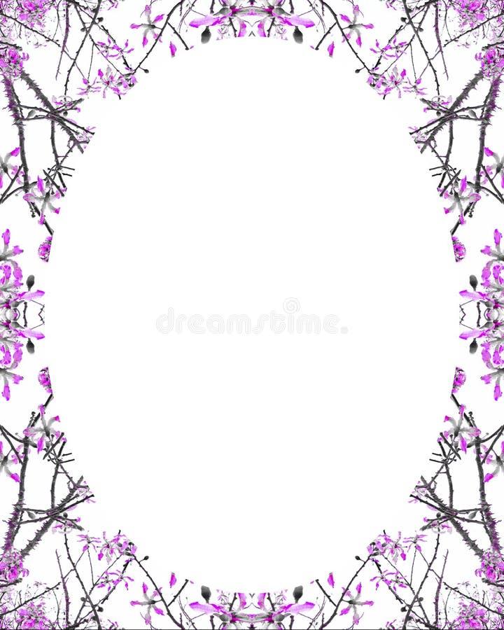 Fundo branco do quadro do círculo com beiras decoradas ilustração do vetor