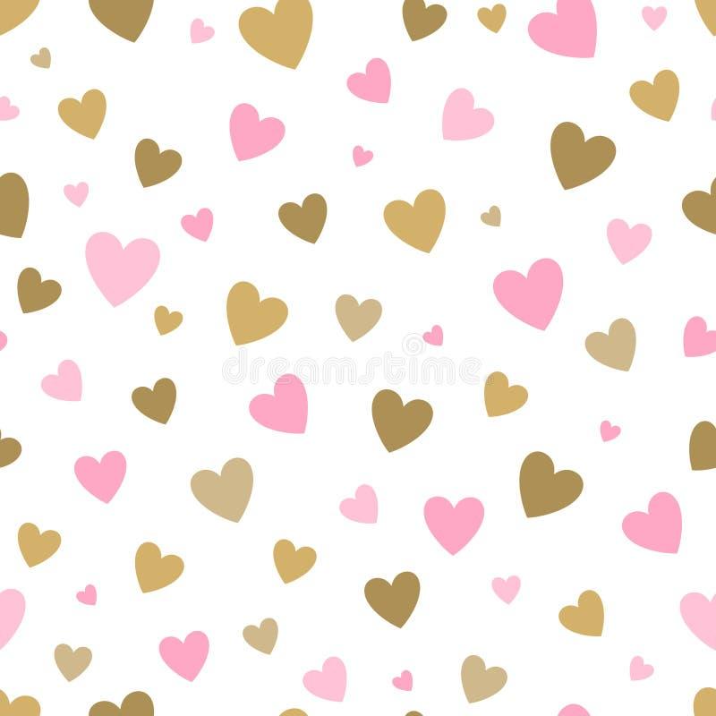 Fundo branco do teste padrão sem emenda com corações do rosa e do ouro projete para o cartão do feriado e o convite do bebê ilustração royalty free