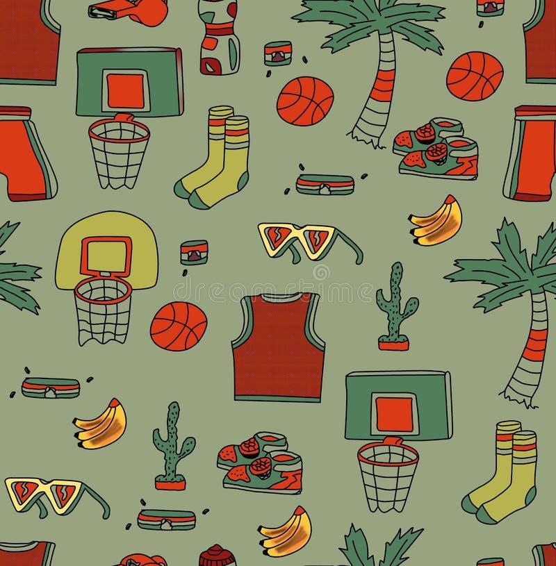Fundo branco dos artigos tropicais da bola do encosto de basquetebol da palmeira da sapata do desenho da mão ilustração royalty free