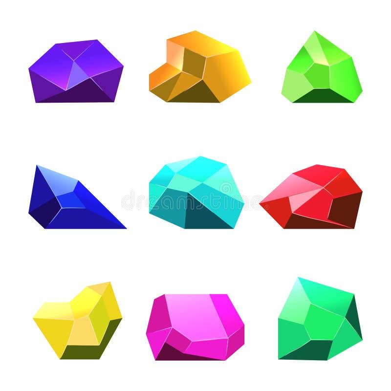 Fundo branco dos cristais do vetor para o jogo móvel ilustração royalty free