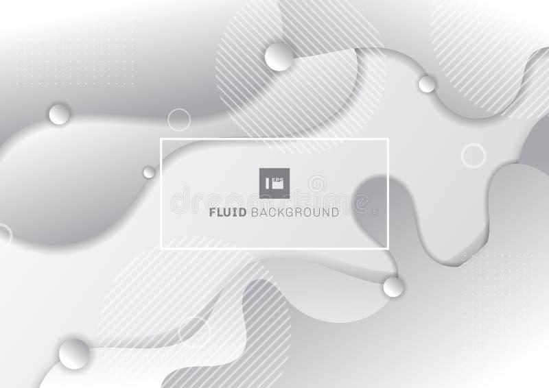 Fundo branco e cinzento de fluido abstrato com elementos geométricos de círculos ilustração do vetor