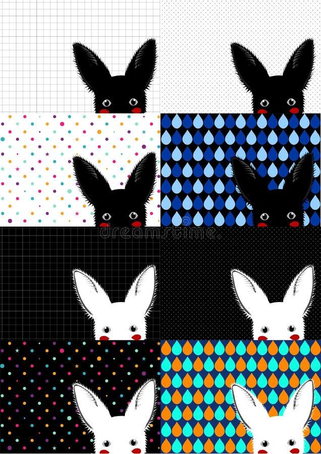 Fundo branco e preto ajustado do coelho ilustração stock