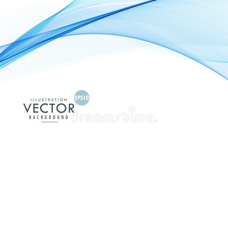 Fundo branco elegante com as ondas de fluxo azuis ilustração royalty free