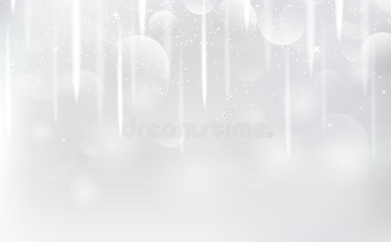 Fundo branco, estrelas de tiro que caem para vislumbrar o vetor dos raios de luz da prata da faísca ilustração stock