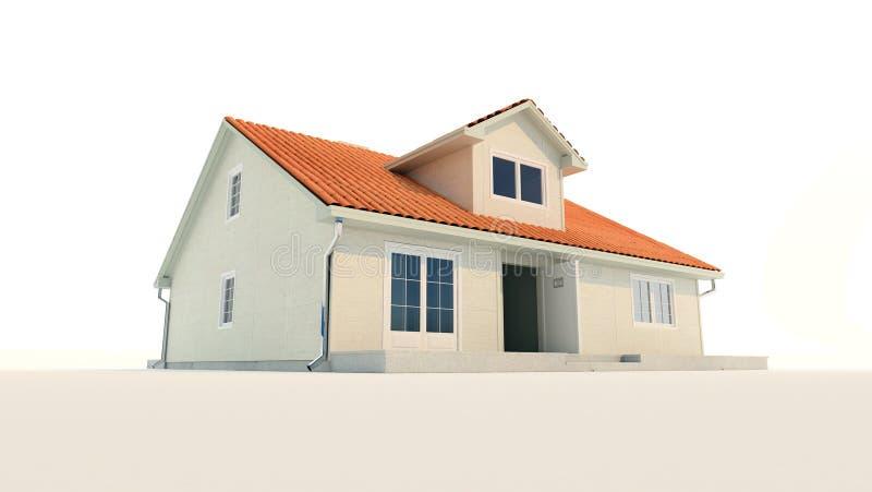 fundo branco isolado casa da família 3d ilustração do vetor