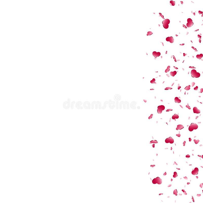 Fundo branco isolado confetes de queda do cora??o Cora??es vermelhos da queda Decora??o de Valentine Day Projeto do elemento do a ilustração do vetor