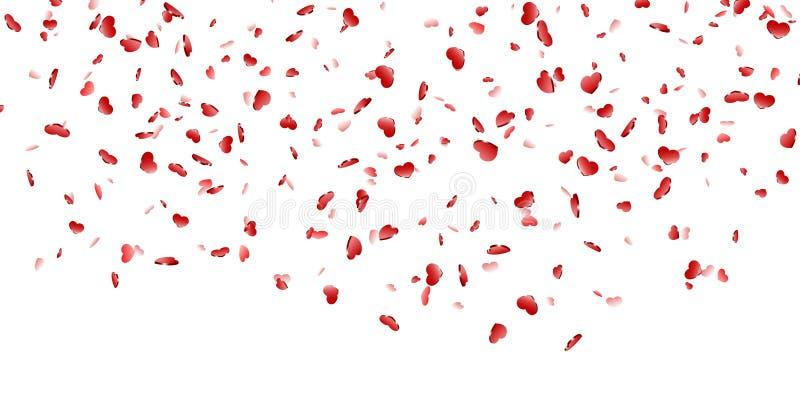 Fundo branco isolado confetes de queda do cora??o Cora??es vermelhos da queda Decora??o de Valentine Day Projeto do elemento do a ilustração stock