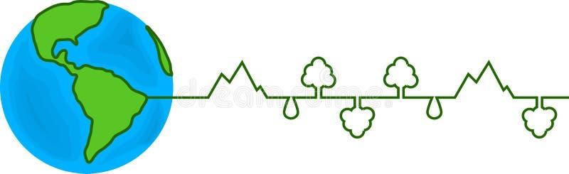 Fundo branco isolado da ilustração do cardiograma da terra do mundo vetor gráfico global ilustração royalty free
