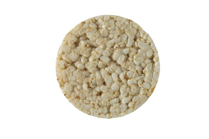 Fundo branco isolado dietético do bolo de arroz A dieta, aptidão, perde para pesar o conceito Vista superior foto de stock