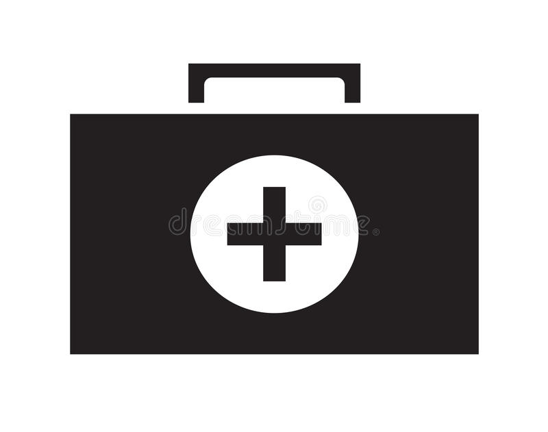 Fundo branco isolado do ícone do kit de primeiros socorros vetor preto e branco ilustração do vetor