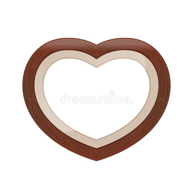 Fundo branco isolado do coração do quadro da cor pastel de Brown forma de madeira, quadro da Coração-forma para o casamento d ilustração do vetor