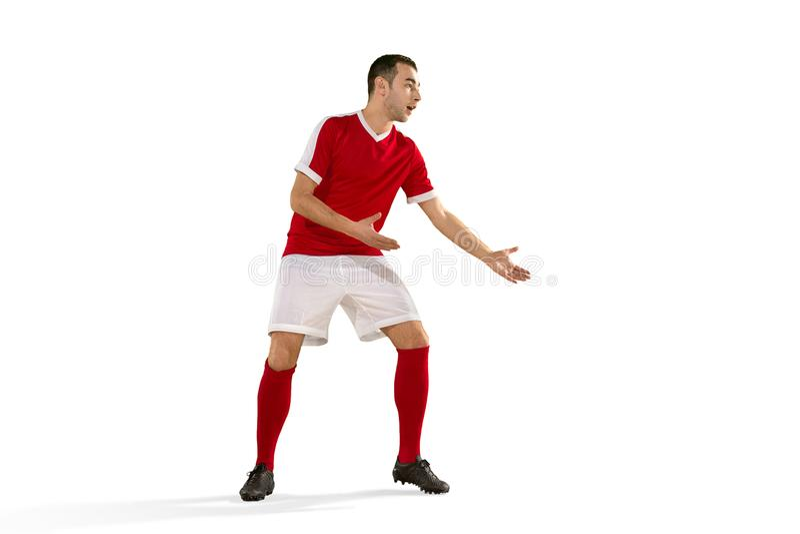 Fundo branco isolado do jogador de futebol do futebol profissional foto de stock