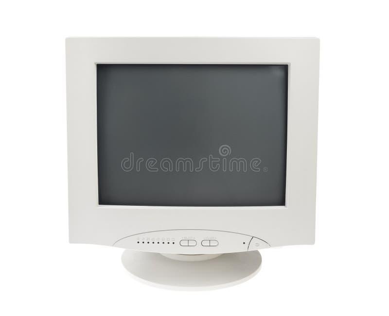 Fundo branco isolado do monitor do CRT indicador velho fotografia de stock
