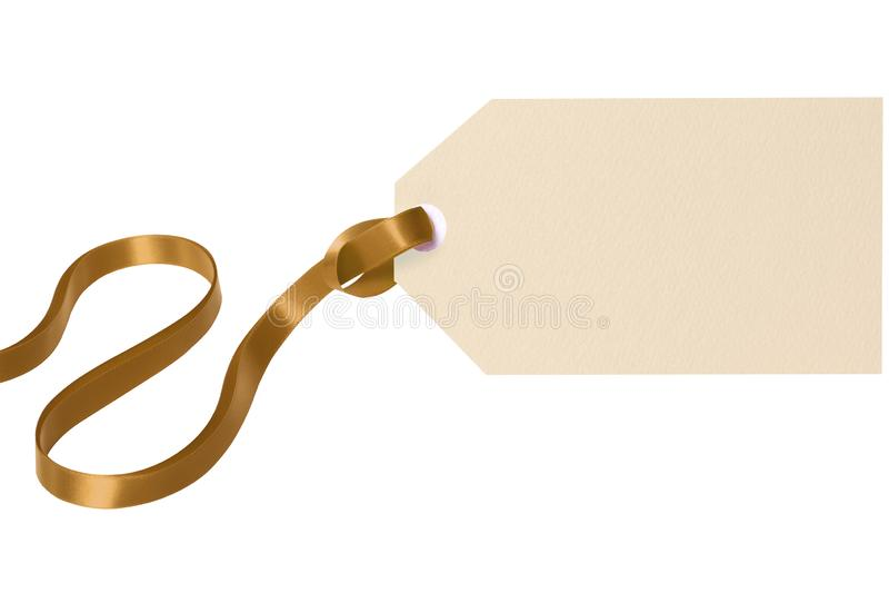 Fundo branco isolado fita do ouro da etiqueta do presente da etiqueta fotos de stock royalty free