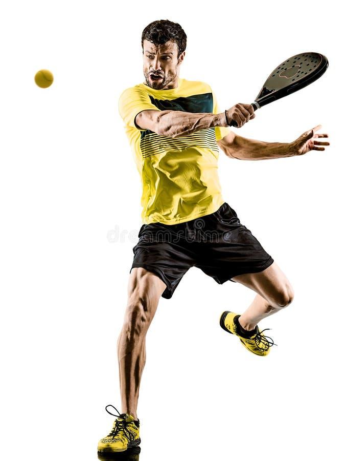Fundo branco isolado homem do jogador de tênis de Padel fotografia de stock