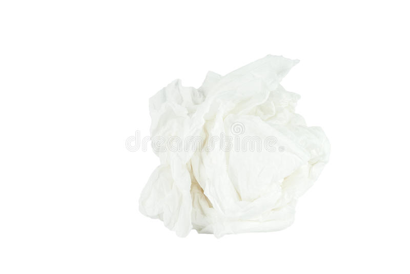 Fundo branco isolado lenço de papel amarrotado fotografia de stock royalty free