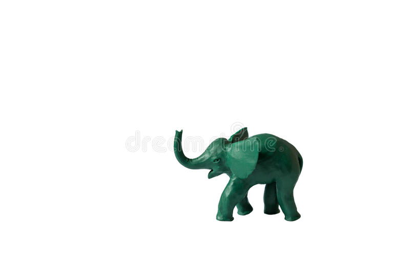 Fundo branco isolado verde do elefante da massa de modelar imagem de stock royalty free