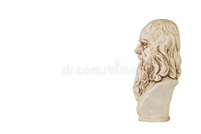 Fundo branco lateral de Leonardo da Vinci fotos de stock royalty free