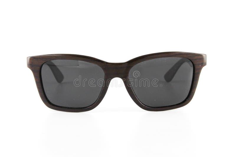 Fundo branco limpo do espaço livre de madeira elegante do Eyewear imagem de stock