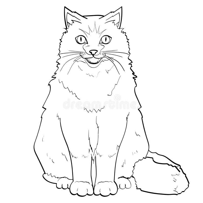 Fundo branco, linhas pretas pet Gato Siamese ou Neva Masquerade colorindo Siberian quadriculação ilustração stock