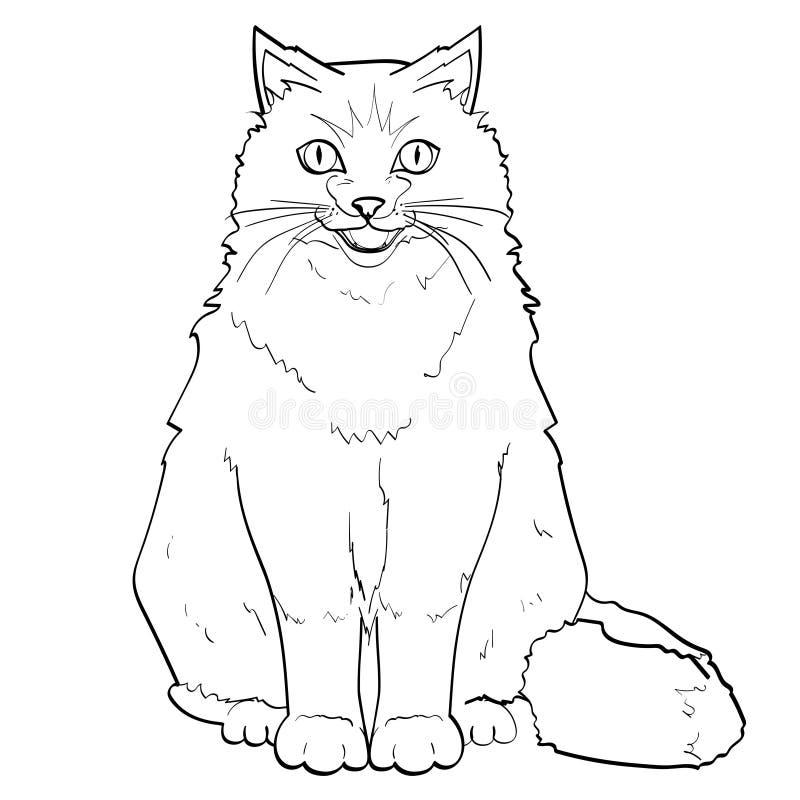 Fundo branco, linhas pretas pet Gato Siamese ou Neva Masquerade colorindo Siberian Vetor ilustração royalty free