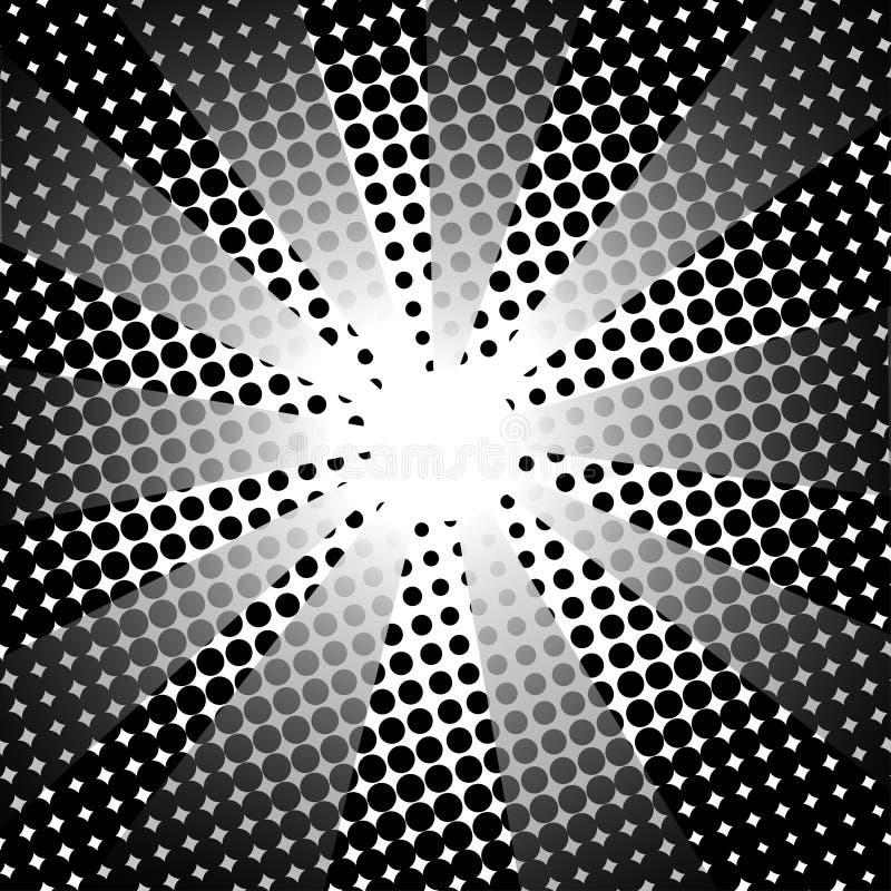 Fundo branco preto cômico dos raios retros ilustração do vetor