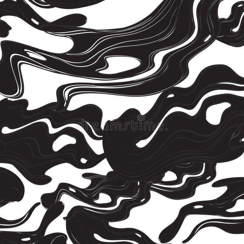 Fundo branco preto das ondas Projeto fluido colorido do sumário Teste padrão líquido da forma, bom para marcar ilustração do vetor