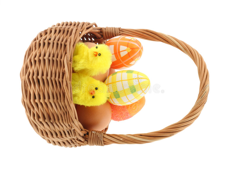 Fundo branco puro da cesta de Easter fotografia de stock royalty free