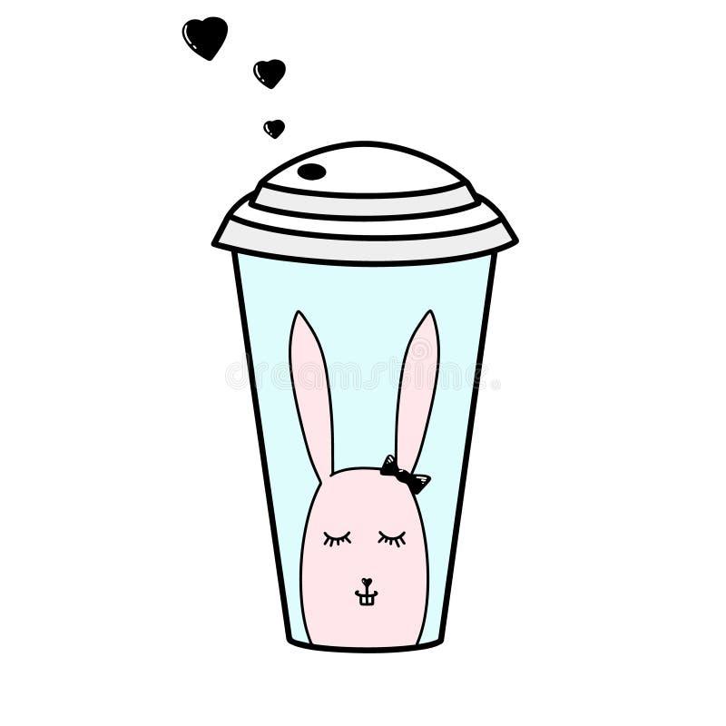 Fundo branco tirado mão do vetor do copo de papel do café, coelho cor-de-rosa Cartão doce, cartão com coração preto pequeno, coel ilustração stock
