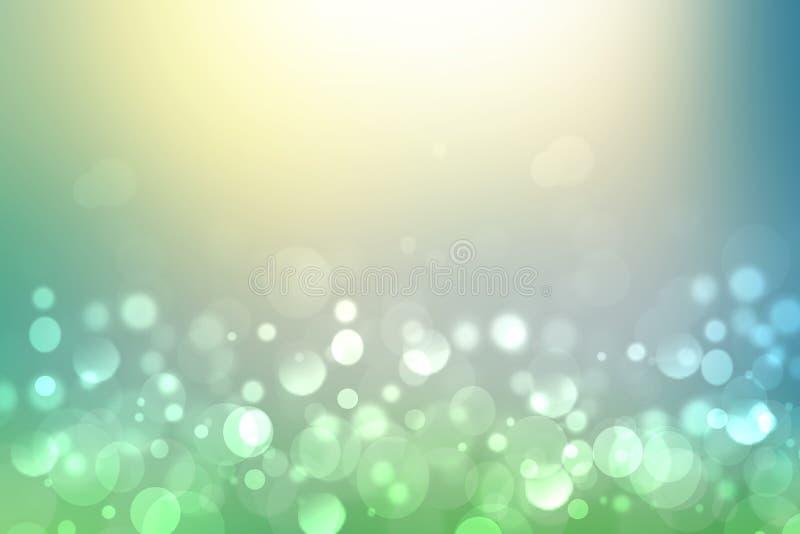 Fundo brilhante abstrato da textura da mola do movimento do inclinação ou da paisagem do verão com luzes e amarelo azuis verdes n ilustração do vetor