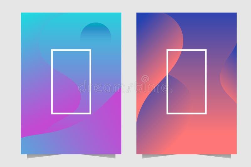 Fundo brilhante abstrato fluido do roxo, da turquesa, o alaranjado e o azul das cores do inclinação ilustração do vetor