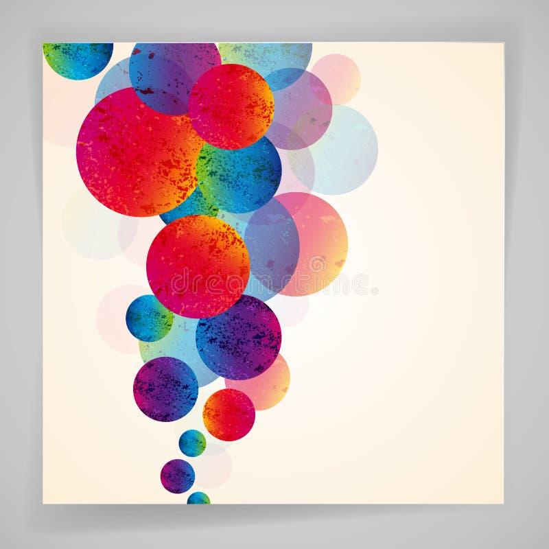 Fundo brilhante abstrato multicolorido Circunda elementos ilustração stock