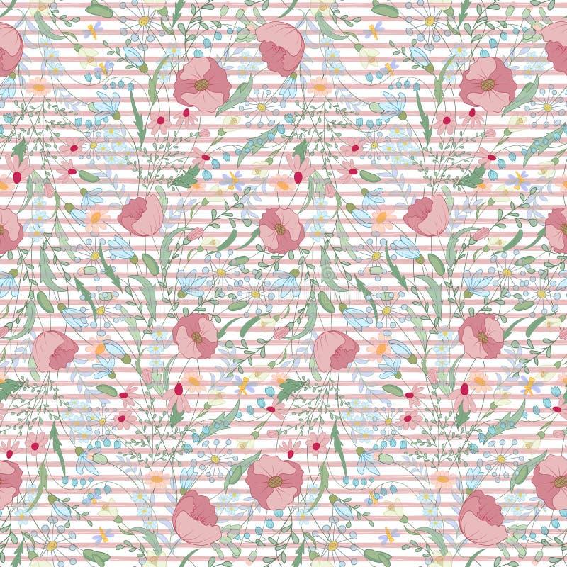 Fundo brilhante com tiras e flores O teste padrão sem emenda pode ser usado para papéis de parede, tela, suficiências de teste pa ilustração royalty free