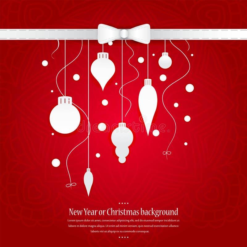 Fundo brilhante comemorativo pelo Natal e o ano novo ano novo feliz 2007 Decorações do White Christmas, brinquedos em um fundo ve ilustração do vetor