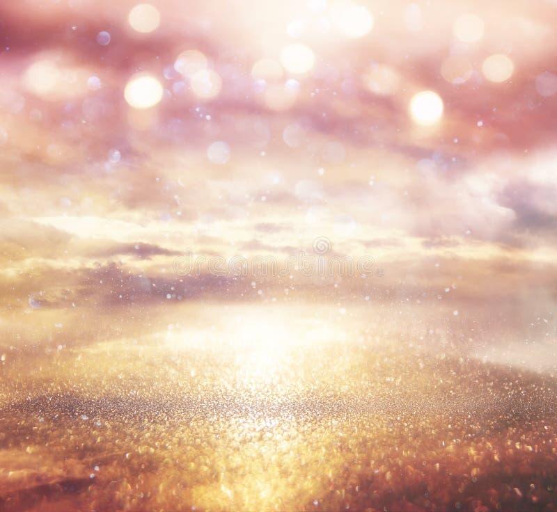 Fundo brilhante da galáxia ou da fantasia Abstraia o estouro da luz conceito mágico e do mistério fotografia de stock royalty free