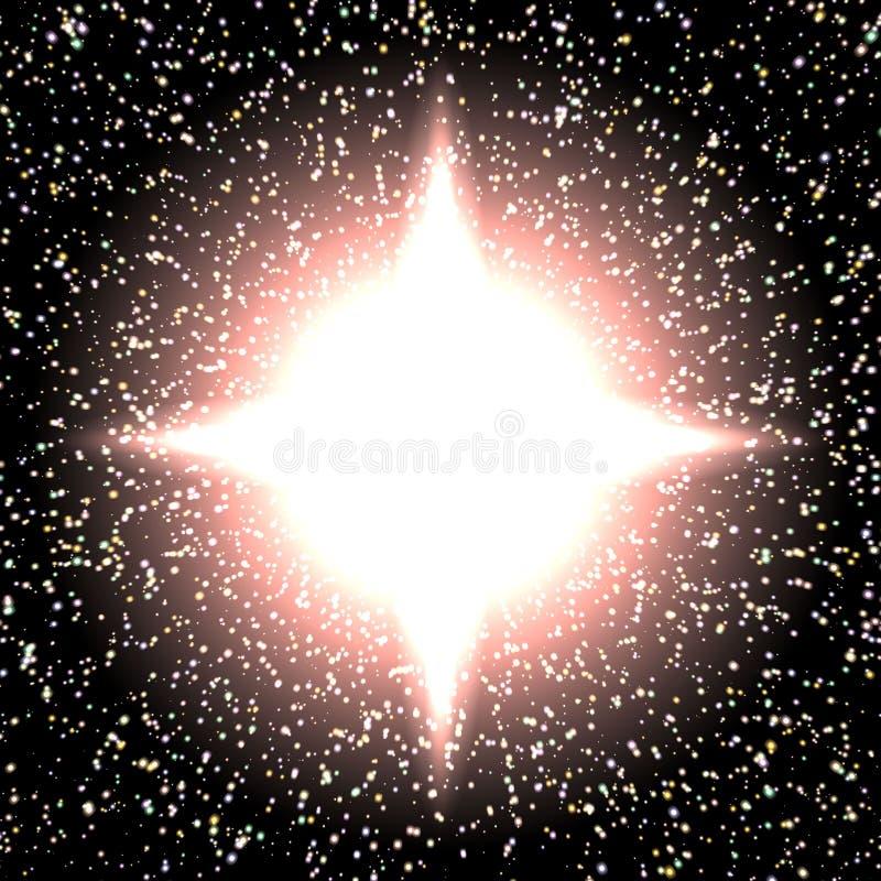 Fundo brilhante da noite com estrelas e luzes ilustração royalty free