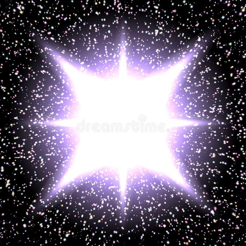 Fundo brilhante da noite com estrelas e luzes ilustração do vetor